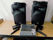 Sound Equipment Mackie Speakers 2 Powered, Mixer 8 Channel, 2 Cordless Mic's