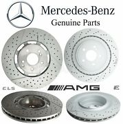 For Mb W212 W218 Amg Pair Set 2 Front And Rear Disc Brake Rotors Slotted Drilled