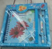 New Blue Red Floral Missing You Journal Pen Set With Keys To Lock