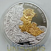 2010 Togo Lunar Year Of The Tiger Chinese 寅 1 Oz Silver Proof Gold Gilded Coin
