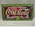Coke Coca Cola Tin Metal Sign New Green And Red Old Fashion Fountains Bottles