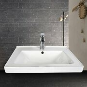 Elecwish Bathroom Vanity Sink, Top Self-rimming 24 In With Faucet And Chrome Pop
