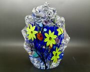 Justin Lundberg Colorful Flowers Art Glass Sculpture/paperweight,apr 8h X 5.5w