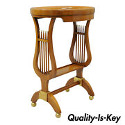 Oval Baker Regency Neoclassical Lyre Harp Side Accent Table Lamp Dish Top