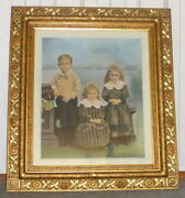 Antique 1880andrsquos 45 Ornately Carved Wood Frame William Kemps Children Painting
