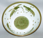 Vintage Japan Andrea By Sadek Fighting Roosters Green And Gold 10 Serving Bowl