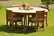 Giva Grade-a Teak 5 Pc Dining 72 Round Table 4 Armless Chair Set Outdoorpatio