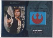 Star Wars 2016 Topps Evolution Commemorative Flag Patch Blue Han Solo 44/50