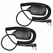 2pcs 2 Pin Mini Speakers With Ptt Microphone For Kenwood Tk Series Two-way Radio