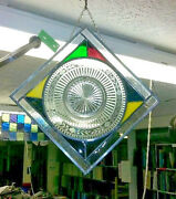 Stained Glass Panel With Plate Purplegreen Yellow New 13w X 12.5 T