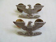 Korea Us Army Colonels Rank Sterling Officer Collar Pin Pair Insignia