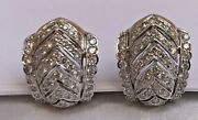 Magnificent French Pair Of 18k White Gold Diamond Earrings