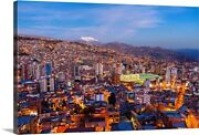 View Over La Paz At Sunset With Nevado Canvas Wall Art Print, South America Home