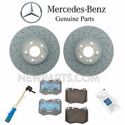 For Mb W205 C300 Front Brake Pad Set And 2 Brake Disc Rotors And Sensor And Lube Kit