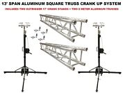Two 17and039 Crank Up Stands With Two 6.56and039 Square Aluminum Truss Segments Package