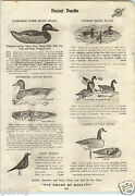 1913 Paper Ad Kankakee Wood Glass Eye White Cedar Duck Decoy Automatic Canvas
