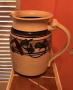 "8.25"" Vintage Signed Studio Pottery Pitcher, Wheel Thrown pot"