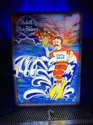Pabst Blue Ribbon Pbr Art 2012 Cool Blue Surf Dude Animated Led Beer Sign