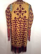 Antique Turkmen Yellow Chirpy Embroidery Excellent Rare