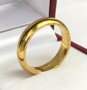 24k Solid Pure 999.9 Gold Handcraft Unisex Band Rings/ Wedding Ring 7.5 Grams
