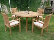 """Cahy 5-pc Outdoor Teak Dining Patio Set 48"""" Round Table, 4 Stacking Arm Chairs"""