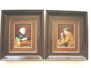 French Pair Camille Faure Limoges Enamel On Convex Copper Painting