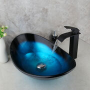 Us Round Bathroom Tempered Glass Basin Set Vessel Vanity Sink Bowl With Faucet