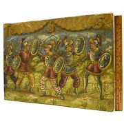 Antique C.19th Folk Art Painting On Carved Salvaged Wood C.17th Spanish Knights