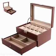 Brown Mens 10 Watch Box Organizer Case Leather Display Glass Top Jewelry Drawer
