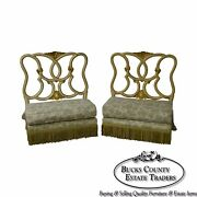 Antique Italian Painted And Upholstered Pair Of Foyer Settees Benches