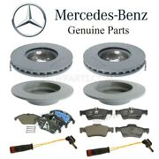 Front And Rear Brake Pad Sets And 2 Rotors Sensors Kit Oes For Mercedes W212 Turbo
