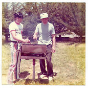 Vintage 70s Photo Young And Older Man Son And Father At Park Barbecue Grill