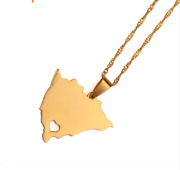 Map Of Nicaragua Country Love Heart Charm Chain Pendant Gold Plated Necklace