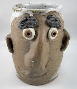 Stoneware Studio Pottery Face Mug Man with Bushy Eyebrows Ears Vintage Signed