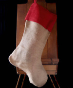 Pack Of 6 - Burlap Christmas Stocking Red Cuff 24 Inch - Free Shipping
