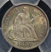 1887 10c Seated Liberty Dime Pcgs Ms 65 Cac