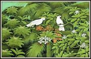 Original Balinese Painting Cockatoo Lovers Superb 52 W X 33.5 H Signed