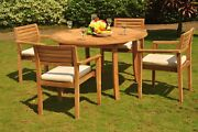 """Mont 5-pc Outdoor Teak Dining Patio Set 48"""" Round Table, 4 Stacking Arm Chairs"""