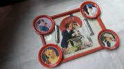 Vintage Metal Lot Dishes Plates Tray Bottle Opener Coca Cola Woman Couple