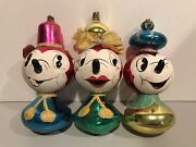 Vintage Mercury Glass Christmas Ornaments Three Blind Mice 3 Mice Extremely Rare
