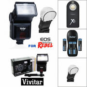 Pro Hd Flash + Remote + Charger + Batteries For Canon Eos Dslr T5 T6 T5i T6i T7