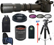 Hd Zoom Lens 500-1000mm + Backpack +57 Tripod +remote For Canon Eos Rebel Dslr