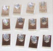 Set Of 12 Crystal And Heavy Chrome Place Card Holders. Circa 1980s.