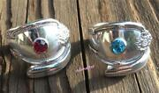 Antique Spoon Rings Pick Birthstone Ruby Diamond Emerald Sapphire Silver Plated