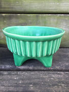 "vintage USA 4003 green vase PLANTER white clay base 3.5"" tall art FOOTED POTTERY"