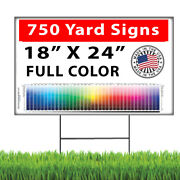 750 18x24 Full Color Double Sided Custom Yard Signs + Stakes
