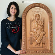 Holy Virgin Mary Coptic - Wood Orthodox Religious Carved Icon Gift 34x20