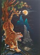 Tiger Handmade 3d Embroidery Art 30x42 One Of A Kind