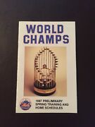 New York Mets 1987 Mlb Pocket Schedule - World Champs