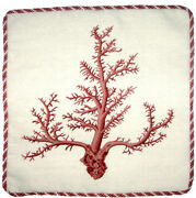 21 X 21 Handmade Wool Needlepoint Petit Point Red Coral Pillow With Cording